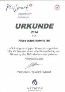 Urkunde 2016 Behindertensport Schweiz